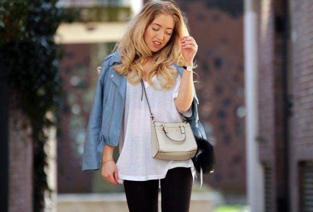 white semi sheer oversized t shirt teal leather jacket