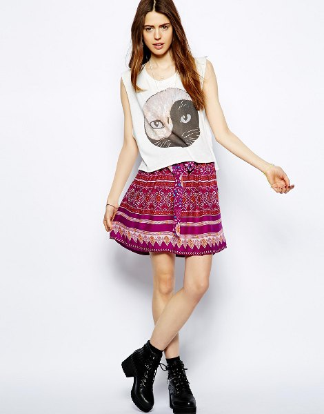 white sleeveless printed top with mini tribal printed bohemian skirt