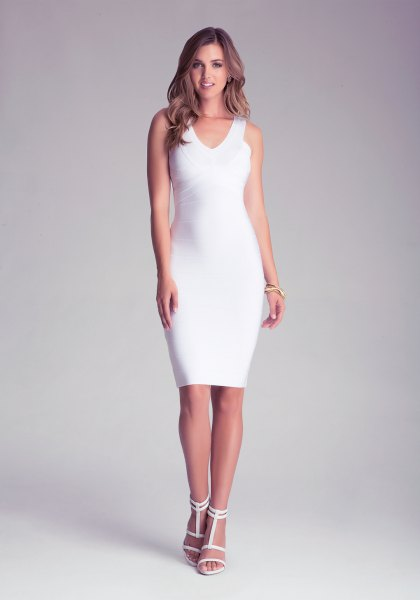 white sleeveless v neck bodycon midi dress