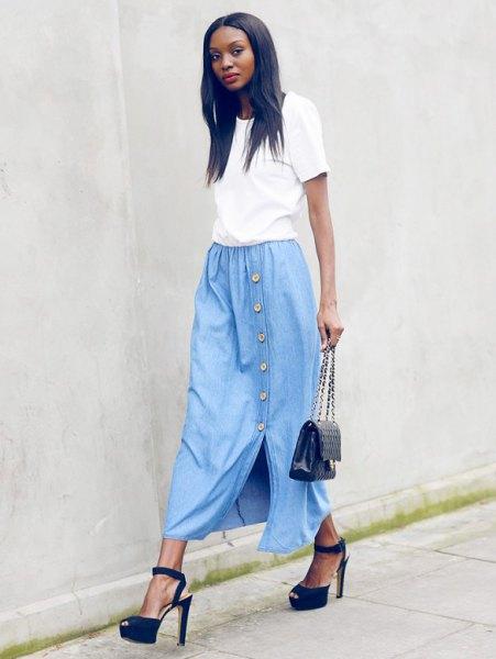 white t shirt with light blue denim maxi dress