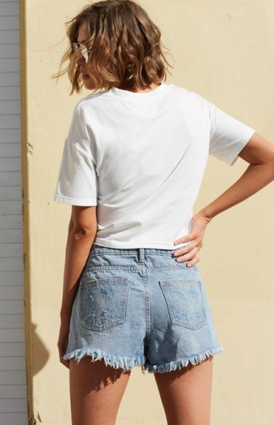 white t shirt with light blue denim skort