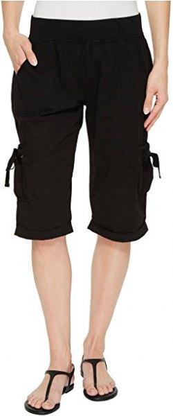 white tee black long cargo shorts flip flops