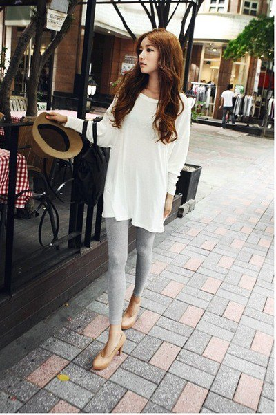 white tunic top with silver leggings