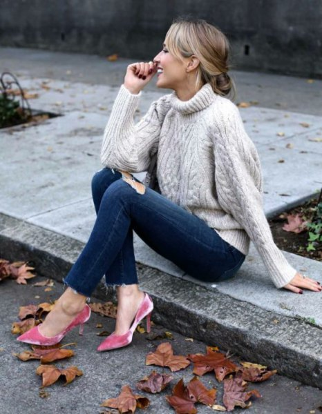 white turtleneck cable knit sweater with silver velvet heels