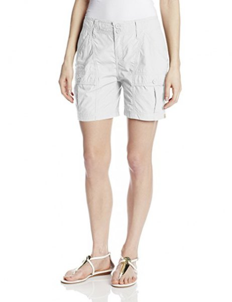 white vest top cargo short sandals