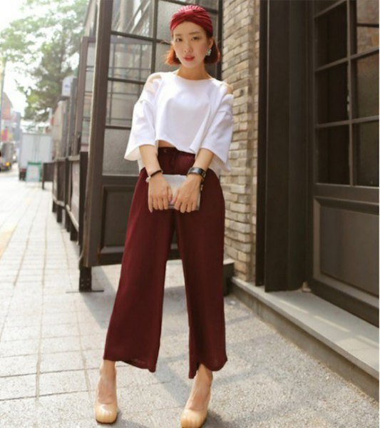 white wide sleeve crop top with burgundy pants