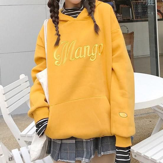 yellow embroidered hoodie plaid pleated mini skirt