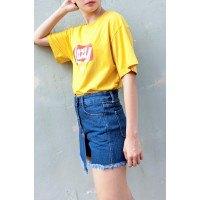 yellow print tee with blue skort