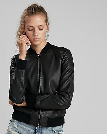 zipped black leather bomber jacket with ripped boyfriend jeans
