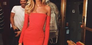 red strapless dress front slit