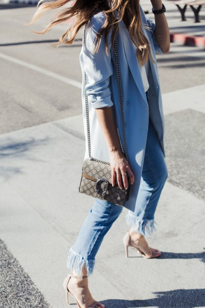 Sky blue long blazer with fringe jeans