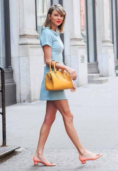 baby blue collar mini dress with mustard yellow purse
