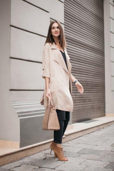 beige half sleeve long trench coat with black vest top