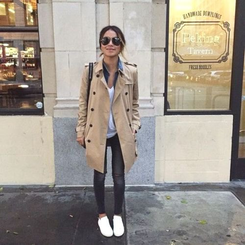 beige trench coat with chambray shirt and grey jeans