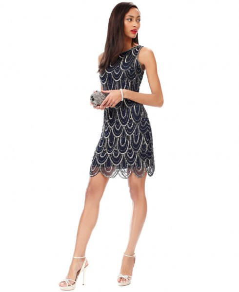 black and silver scalloped hem mini dress