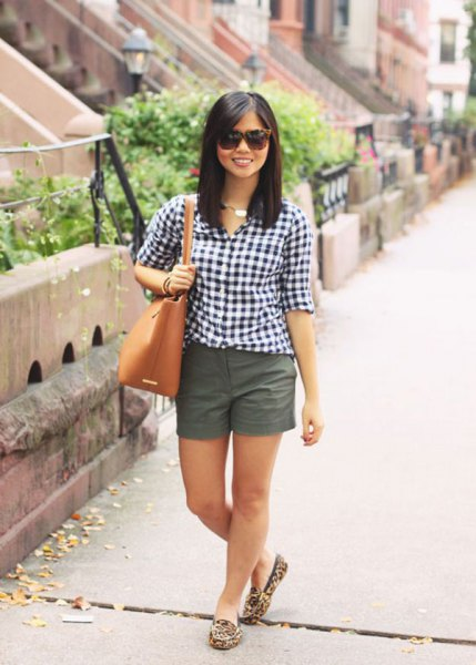 black and white checkered shirt with grey mini shorts