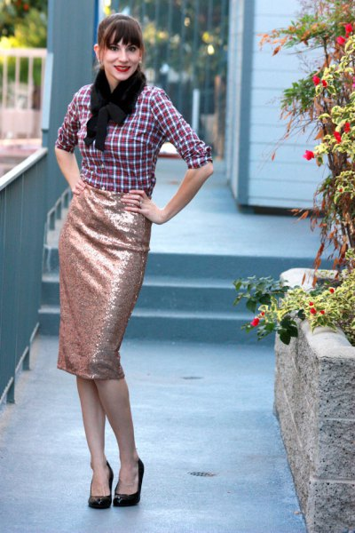 black and white plaid shirt with rose gold skirt