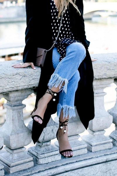 black and white polka dot shirt with black maxi cardigan and jeans