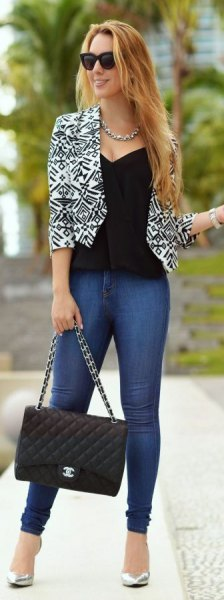 black and white printed cropped blazer with low cut vest top