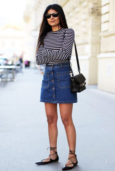 black and white striped long sleeve tee with blue denim button front skirt