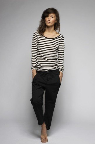 black and white striped long sleeve tee with chinos