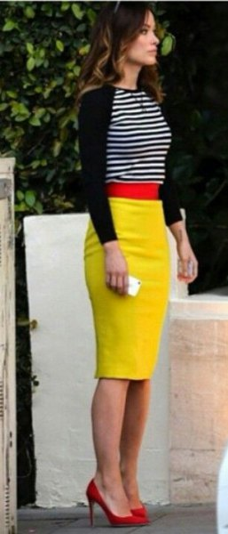 black and white striped sweater and lemon yellow midi bodycon skirt
