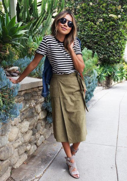 black and white striped t shirt with long khaki wrap skirt