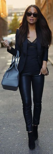 black blazer with v neck blouse and leather leggings