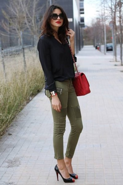 black button up shirt with green skinny khaki jeans