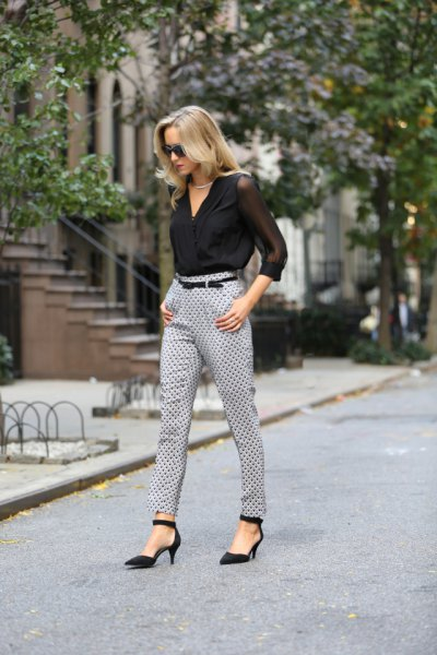 black chiffon wrap blouse with grey polka dot pants