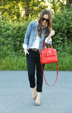 black chinos with white shirt and blue denim jacket