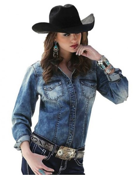 black cowboy hat with blue denim fitted jacket
