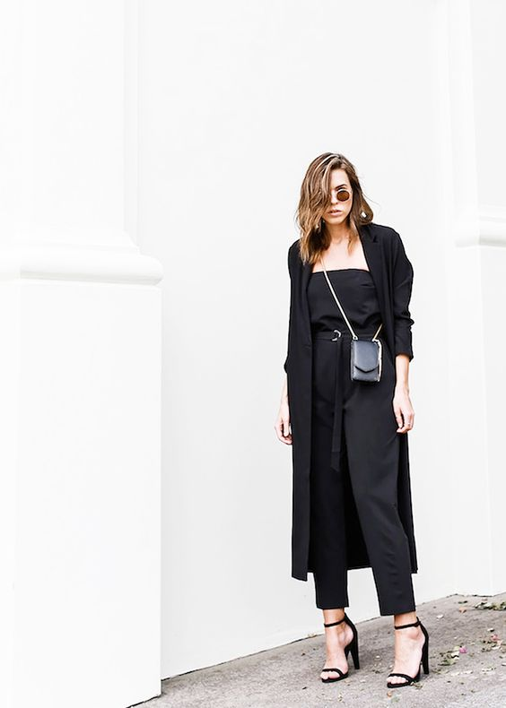 black duster coat jumpsuit