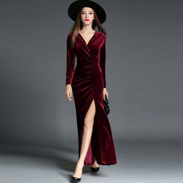 black felt hat with burgundy maxi velvet wrap dress