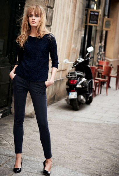 black fitted sweater with skinny jeans and kitten heels