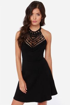 black halter mini skater sundress with silver studded details