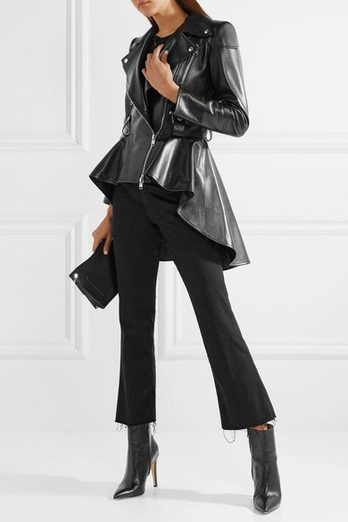black high low leather jacket with flared cropped chinos