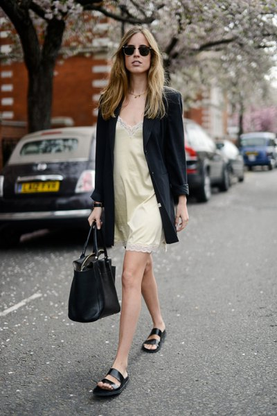 black long blazer with pink lace and silk slip mini dress