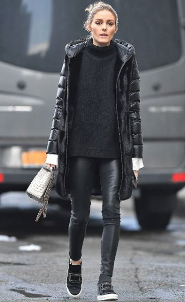 black long puffer coat with mock neck comfy sweater and leather leggings