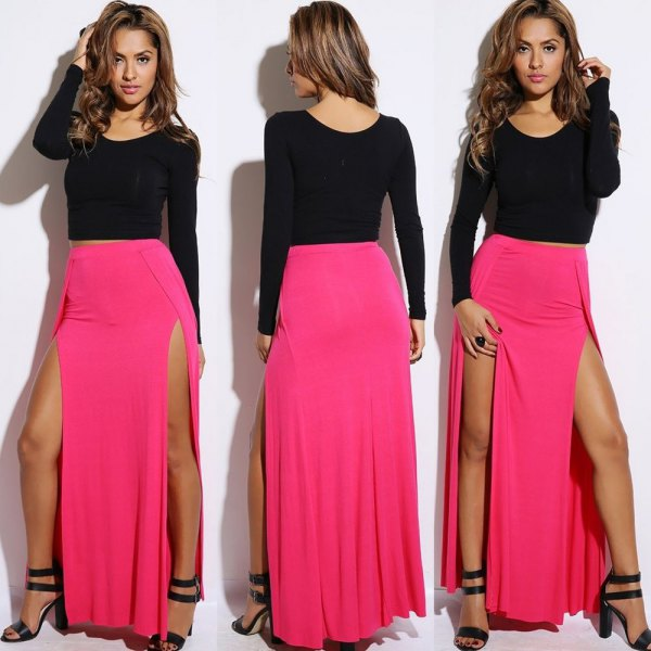 black long sleeve form fitting sweater with pink double slit maxi skirt