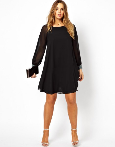 black long sleeve mini chiffon cocktail dress