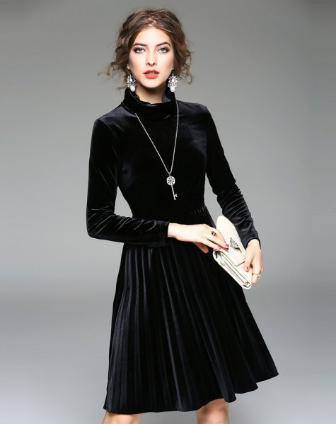 black long sleeve mock neck velvet midi pleated dress