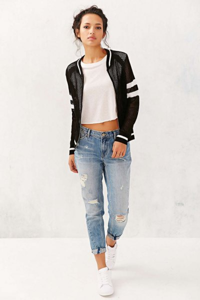 black mesh jacket with white cropped tee and boyfriend jeans