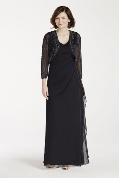 black mesh short jacket with floor length sheath dress