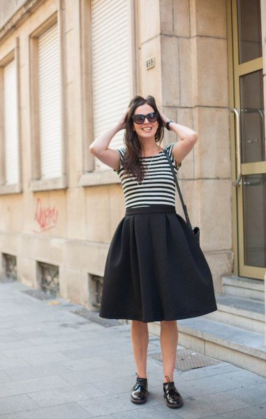 black midi circle skirt with striped t shirt