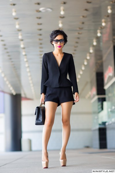 black peplum blazer with flowy dress shorts