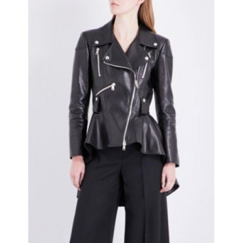 black peplum leather jacket with wide leg chinos