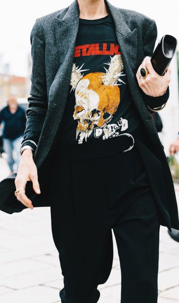 black retro print tee with grey tweed jacket