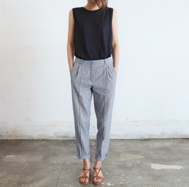 black sleeveless top with grey diy ankle pants