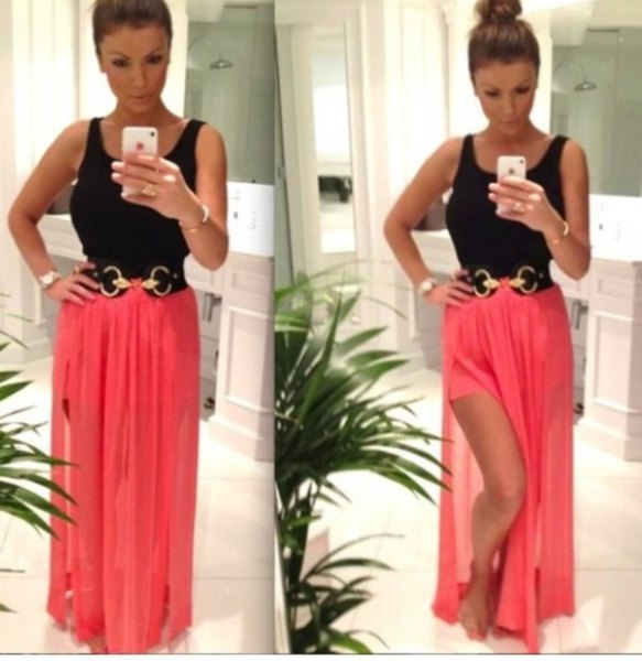 black vest top with shocking pink double slit skirt